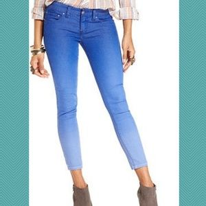 Free People Blue Ombre Midrise Skinny Ankle Jeans